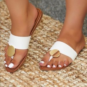 White and Gold Wide Band Flat Sandal